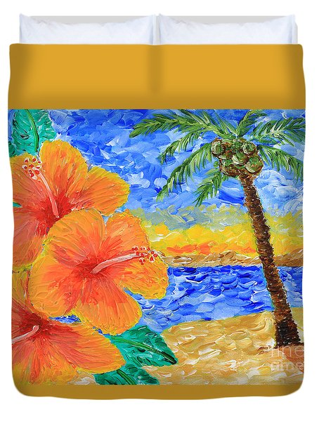 Orange Hibiscus Coconut Tree Sunrise Tropical Beach Painting Duvet Cover