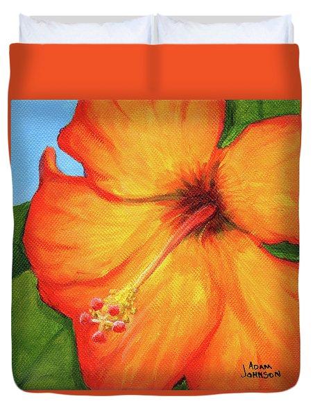 Orange Hibiscus Flower Duvet Cover