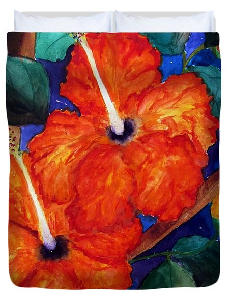 Orange Hibiscus Duvet Cover by Lil Taylor