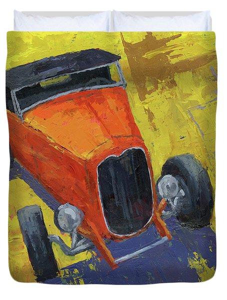 Orange Hot Rod Roadster Duvet Cover