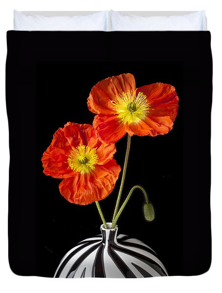 Orange Iceland Poppies Duvet Cover by Garry Gay