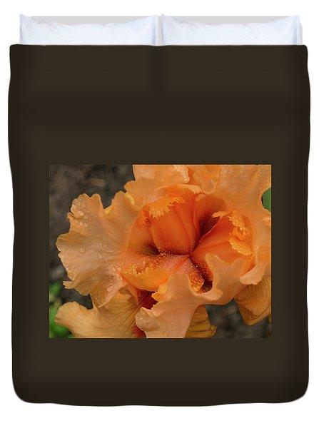 Duvet Cover featuring the photograph Orange Iris Center by Jean Noren