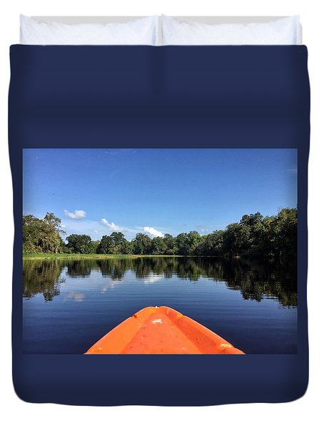 Orange Kayak  Duvet Cover