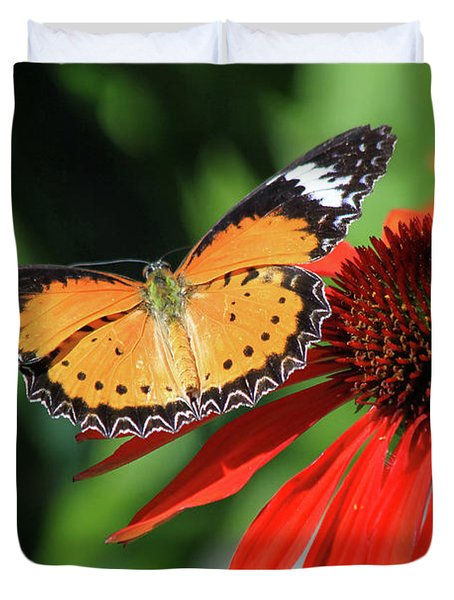 Orange Lacewing Duvet Cover