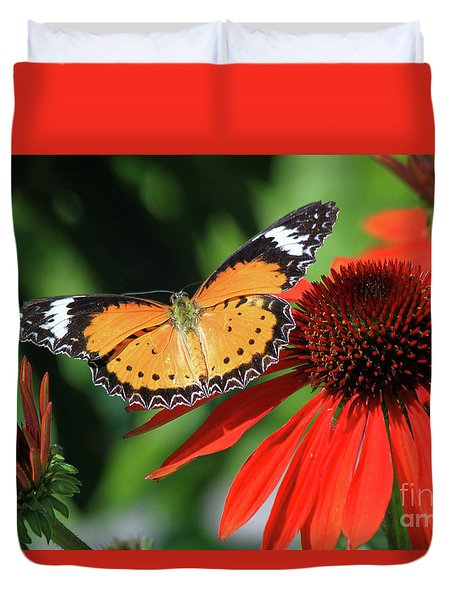 Orange Lacewing Duvet Cover