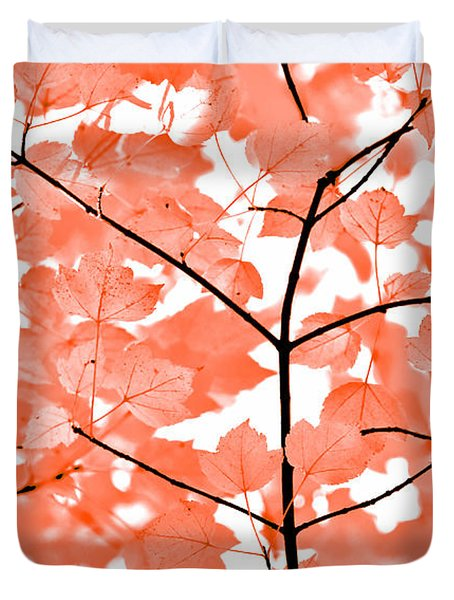Orange Leaves Melody  Duvet Cover