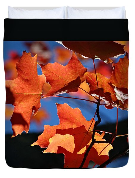 Orange Leaves Duvet Cover