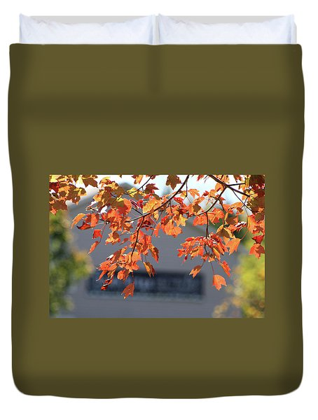 Orange Leaves Of Autumn Duvet Cover