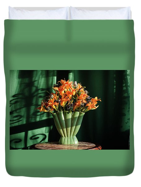 Orange Lilies In June Duvet Cover by Wendy Blomseth