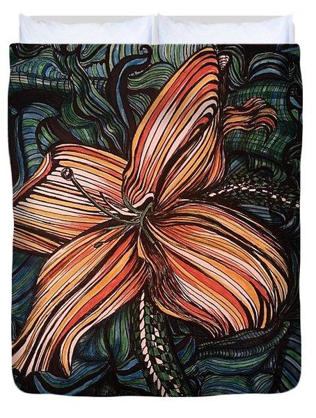 Orange Lily Duvet Cover