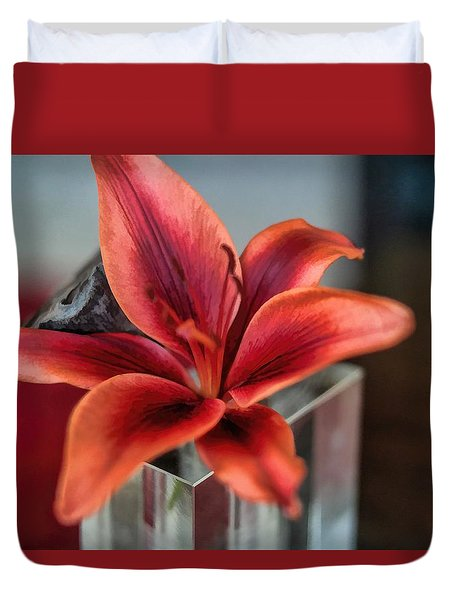 Duvet Cover featuring the photograph Orange Lilly And Her Companion Abstract by Diana Mary Sharpton