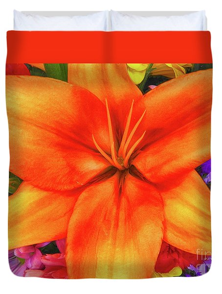 Duvet Cover featuring the painting Orange Lilly Art by Deborah Benoit