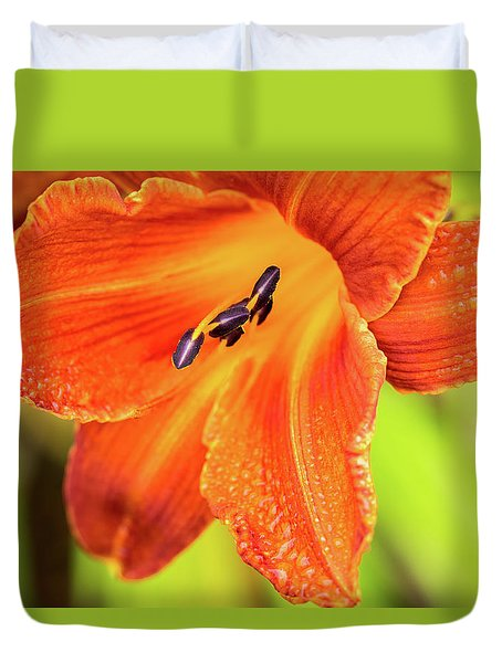 Orange Lilly Of The Morning Duvet Cover by Ken Stanback
