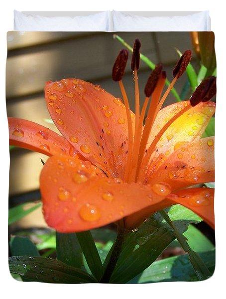 Orange Lilly Duvet Cover