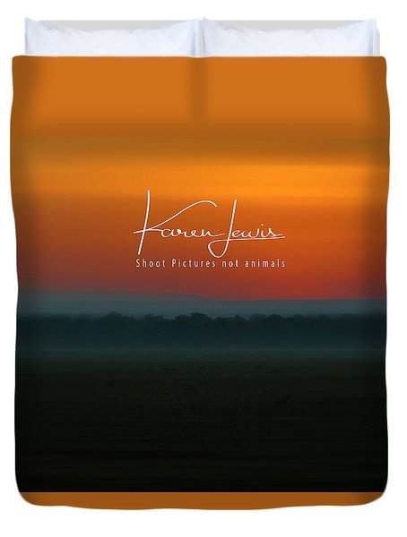 Duvet Cover featuring the photograph Orange Mara Dawn by Karen Lewis