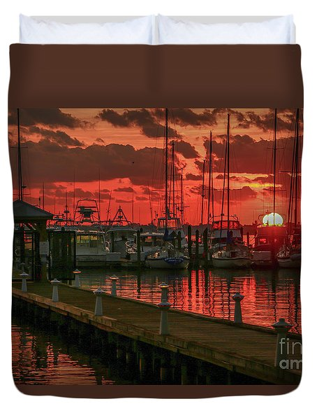 Orange Marina Sunrise Duvet Cover