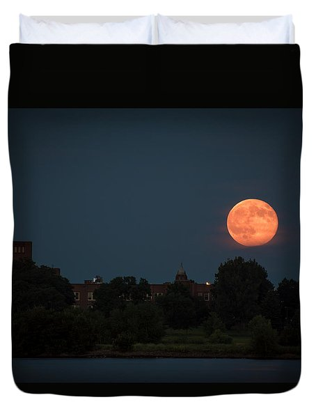 Orange Moon Duvet Cover