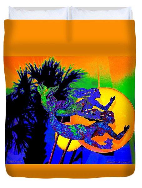 Orange Moon Synchronicity Duvet Cover