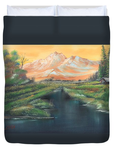 Orange Mountain Duvet Cover by Remegio Onia
