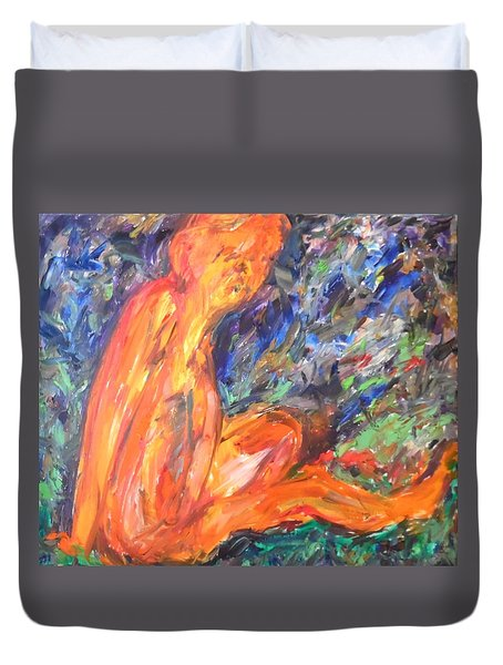 Duvet Cover featuring the painting Orange Nymph by Esther Newman-Cohen