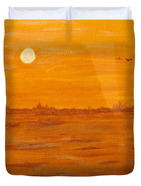 Duvet Cover featuring the painting Orange Ocean by Ian  MacDonald