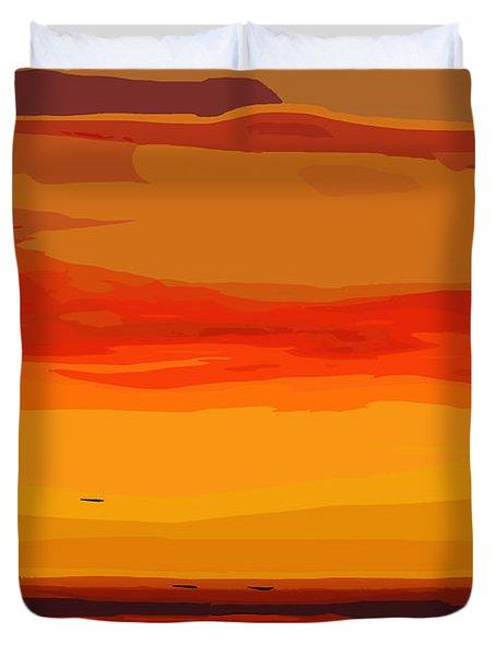 Orange Ocean Sunset Duvet Cover