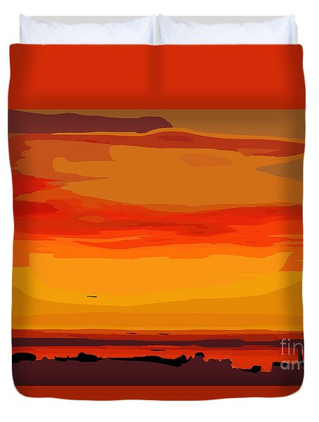 Orange Ocean Sunset Duvet Cover