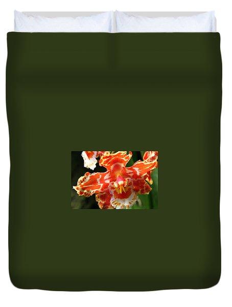 Orange Orchid Duvet Cover