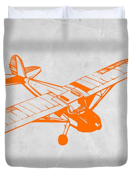 Orange Plane 2 Duvet Cover by Naxart Studio