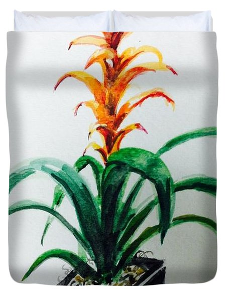 Orange Plant Duvet Cover