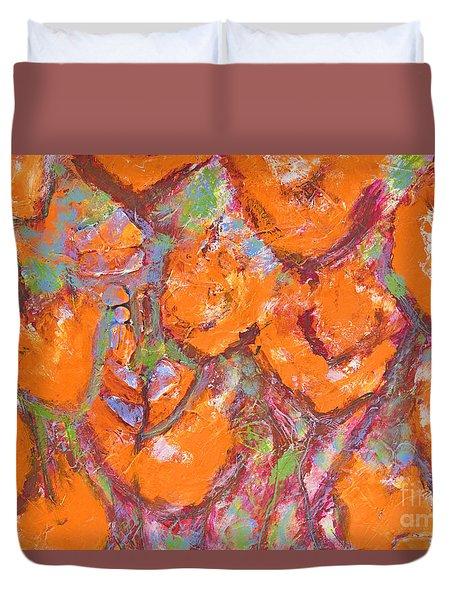 Orange Poppies Duvet Cover