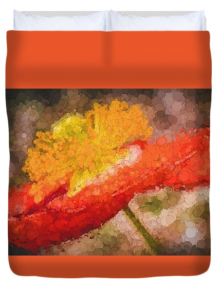 Duvet Cover featuring the photograph Orange Poppy by Cathy Donohoue