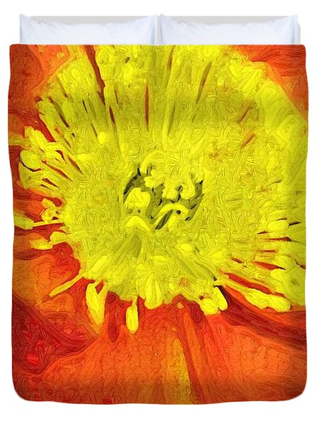 Duvet Cover featuring the photograph Orange Poppy by Donna Bentley