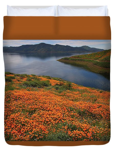 Orange Poppy Fields At Diamond Lake In California Duvet Cover