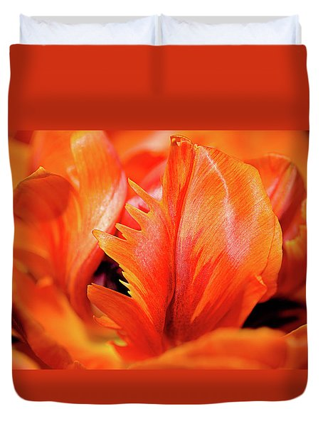 Duvet Cover featuring the photograph Orange Princess Tulip Natures Abstract by Julie Palencia