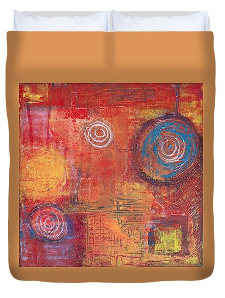 Orange Red Abstract Duvet Cover