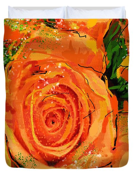 Duvet Cover featuring the digital art Orange Roses by Sladjana Lazarevic