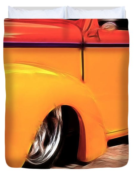 Orange Rush - 1941 Willy's Coupe Duvet Cover
