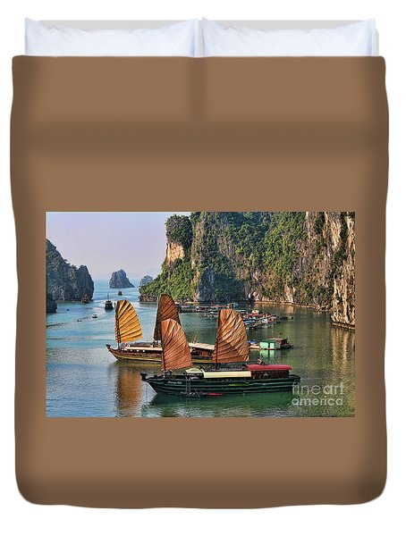 Orange Sails Asian Cruise Vietnam  Duvet Cover