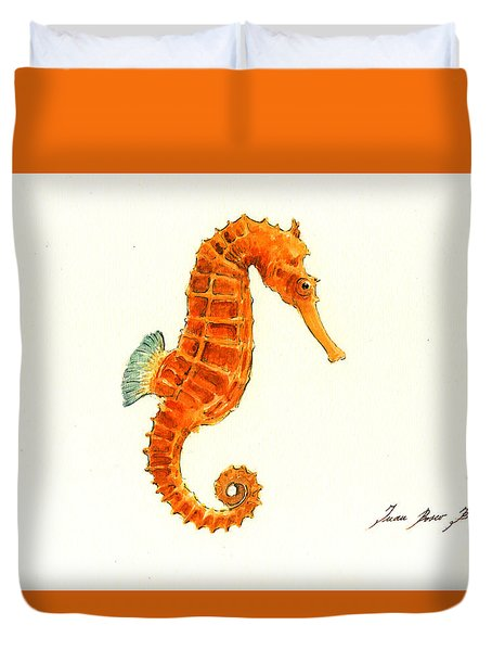 Orange Seahorse Duvet Cover by Juan Bosco