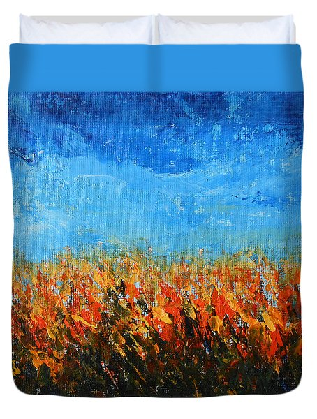 Duvet Cover featuring the painting Orange Sensation by Jane See