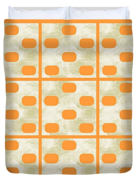 Orange Sherbet Shapes Duvet Cover by Patricia Strand