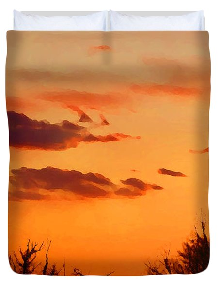 Duvet Cover featuring the digital art Orange Sky At Night by Shelli Fitzpatrick