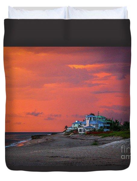 Orange Sky Beach House Duvet Cover