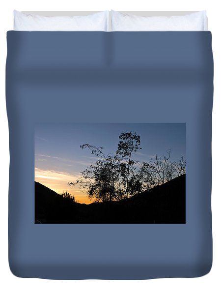 Duvet Cover featuring the photograph Orange Sky Nature Silhouette by Matt Harang