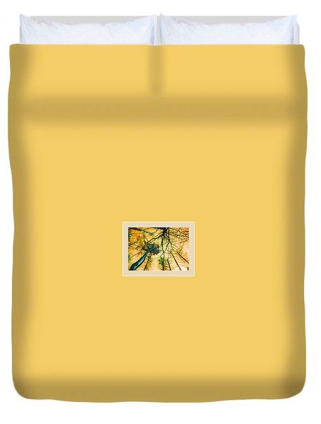 Orange Sky Tree Tops Duvet Cover by Felipe Adan Lerma
