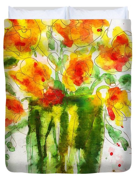 Duvet Cover featuring the painting Orange Splendor by Claire Bull