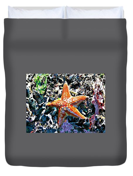 Duvet Cover featuring the photograph Orange Starfish by 'REA' Gallery
