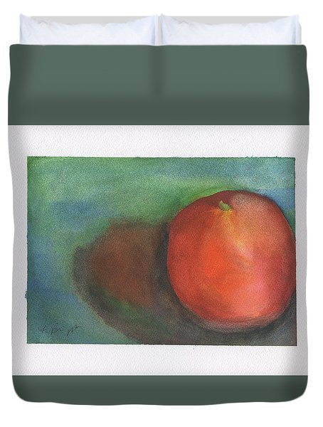 Duvet Cover featuring the painting Orange Still Life by Frank Bright