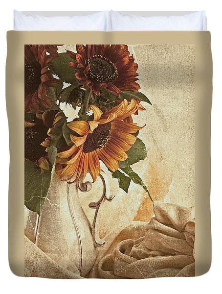 Orange Sunflowers - Found In The Attic Duvet Cover by Sandra Foster